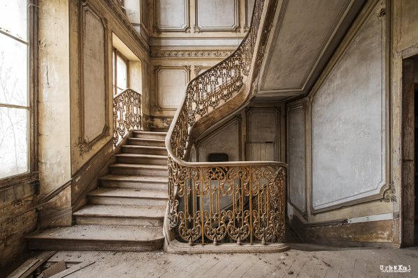 Stairs In An Old Abondoned Castle In The North Of France