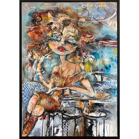 guy olivier schilderij femme a table